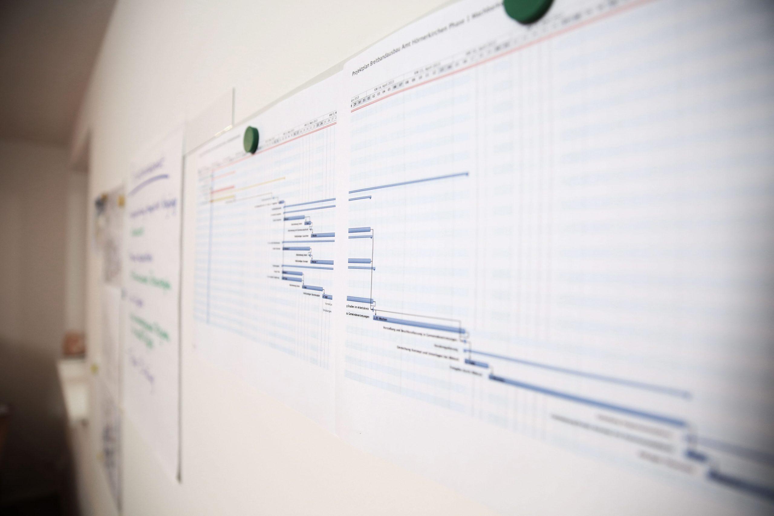 -Diagramme aufgehängt an Whiteboard